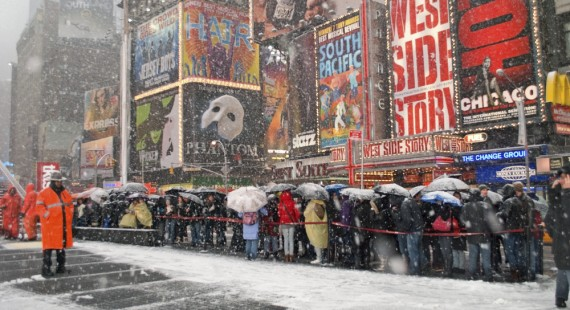 Ticket Line of Broadway in the Snow